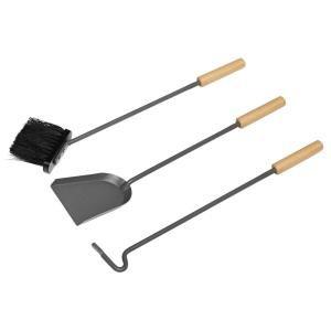 Raik Kaminbesteck 3-teilig GUSTAV, anthrazit mit Holzgriffen