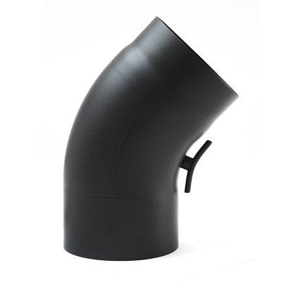 RR schwarz Ø150mm Bogen 45° gezogen mit Tür