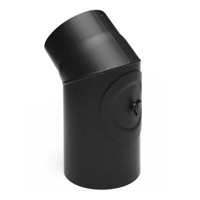 RR schwarz Ø150mm Bogen 45° mit Tür