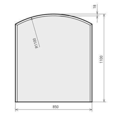Glasbodenplatte Zunge flach 2 inkl. Facette   850 x 1100 mm