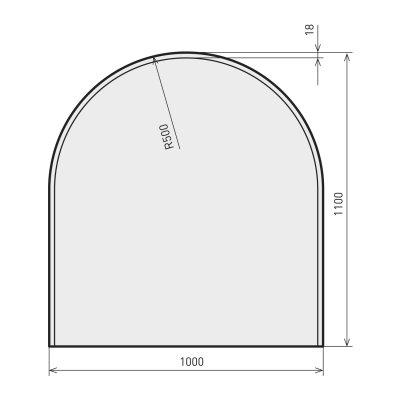 Glasbodenplatte Zunge flach 3 inkl. Facette 1000 x 640 mm
