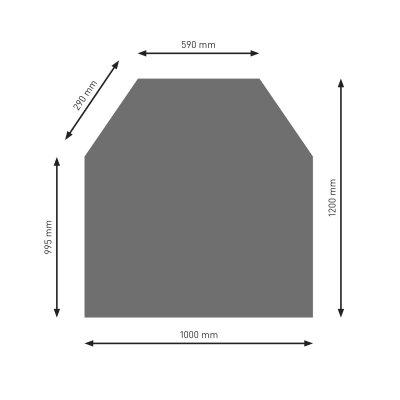 Bodenplatte B2 gussgrau 6-Eck  1200x1000mm