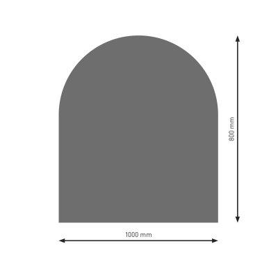 Bodenplatte B3 gussgrau (2) Halbrund  800x1000mm