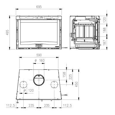 La Nordica Inserto 70 H49 4.0 Ventilato Stahl Schwarz