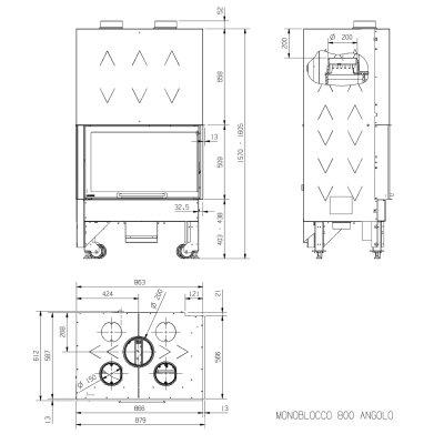 La Nordica Monoblocco 800 Angolo DX Stahl Schwarz