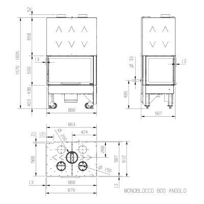 La Nordica Monoblocco 800 Angolo SX Stahl Schwarz